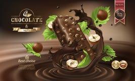 Spritzt von geschmolzener Schokolade und von Schokoriegel Lizenzfreie Stockfotos