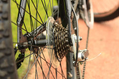 Sprocket of bicycle. Close up detail photo of sprocket of bicycle Royalty Free Stock Photos