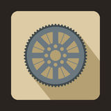Sprocket from bike icon, flat style Royalty Free Stock Image