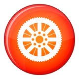 Sprocket from bike icon, flat style. Sprocket from bike icon in red circle isolated on white background vector illustration Royalty Free Stock Photos