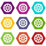 Sprocket from bike icon set color hexahedron. Sprocket from bike icon set many color hexahedron isolated on white vector illustration Stock Photos