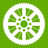 Sprocket from bike icon green. Sprocket from bike icon white isolated on green background. Vector illustration Stock Photo