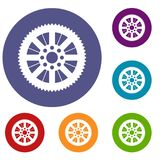 Sprocket from bike icons set. In flat circle reb, blue and green color for web Royalty Free Stock Image