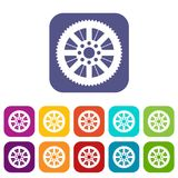 Sprocket from bike icons set. Vector illustration in flat style In colors red, blue, green and other Stock Photography