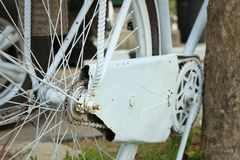 Sprocket of bikes parked at the park. Royalty Free Stock Photography