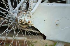 Sprocket of bikes parked at the park. Stock Photography