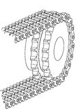 Sprocket and chain. Sprocket with duplex chain vector illustration Royalty Free Stock Photo