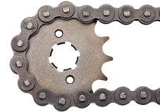 Sprocket and chain. Motocycle rear sprocket new from the box royalty free stock image
