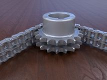 Sprocket and chain detailed illustration. 3D render illustration of a sprocket and a chain closeup. The composition is isolated on a wooden background with Stock Image