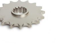 Sprocket Gear. Motorcycle gear sprocket macro isolated on white royalty free stock photo
