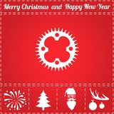 Sprocket Icon Vector. And bonus symbol for New Year - Santa Claus, Christmas Tree, Firework, Balls on deer antlers Stock Photography