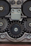 Sprocket metal gears closeup. In industrial Royalty Free Stock Photography