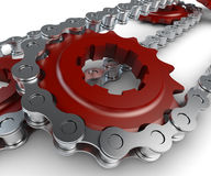 Sprocket with metal link chain Royalty Free Stock Images
