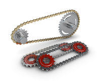 Sprocket with metal link chain Stock Photography