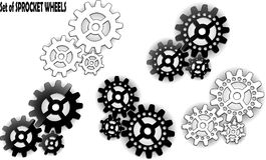 Sprocket wheel. Set of sprocket wheels with shadows on background Royalty Free Stock Image