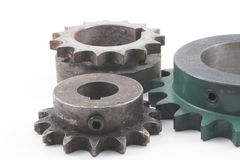 Sprockets. An assortment of sprockets for chain driven machinery Royalty Free Stock Images