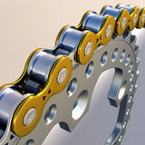 Sprockets and Chain. 3D macro rendering of sprockets and chain strong motorcycle version stock illustration