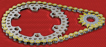 Sprockets and Chain  long shot Stock Images