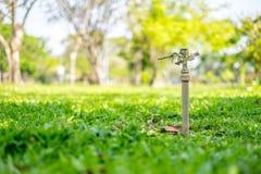Sproeier op groen gras Royalty-vrije Stock Fotografie