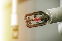 Sproeier voor water in het brandbeveiligingsysteem royalty-vrije stock afbeeldingen