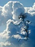 Sprong aan de hemel Stock Foto