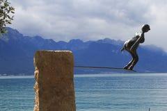 Sprong in het meer van Genève Royalty-vrije Stock Fotografie