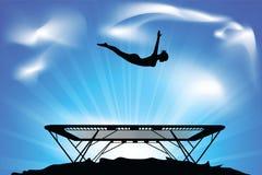 Sprong op een trampoline stock illustratie