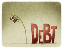 Sprong over een schuld royalty-vrije illustratie