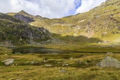 Spronser湖在南蒂罗尔,意大利 免版税图库摄影