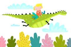 Sprookje Dragon Fly met Meisje stock illustratie