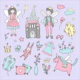 Sprookje met met gevleugelde karakters, het kasteel, eenhoorn wordt geplaatst die De vectorIllustratie van de krabbel stock illustratie