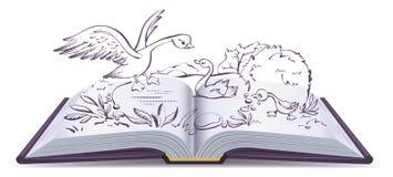 Sprookje van het illustratie het open boek van lelijk eendje stock illustratie