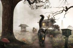Sprookjehuis in de moerassen Stock Afbeeldingen