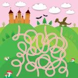 Sprookjekasteel, draak, knuppels, boslabyrintspel voor Peuterkinderen Vector stock illustratie