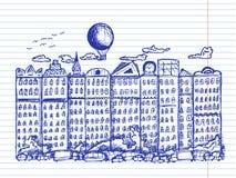 Sprookjestad op voorbeeldenboekachtergrond vector illustratie