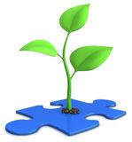 Sprout on blue puzzle. 3d illustration of a small plant growing from a jigsaw puzzle - isolated on white - growth concept Stock Photography