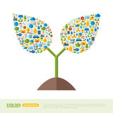 Sprout with Ecology Icons Pattern Stock Images