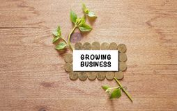 Sprout growing on stack coin with wooden background saving money concept Royalty Free Stock Photo