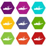 Sprout in the human hand icon set color hexahedron Royalty Free Stock Photo