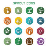 Sprout long shadow icons. Flat vector symbols Royalty Free Stock Photography