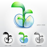 Sprout of plant grow up from stylised spherical se. Design element for logos (icons, symbols, signs) and other visual identity of company. Qualitative vector ( Stock Image