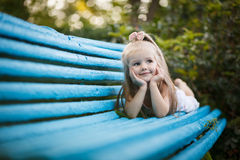 Sprout plant growing from little girl hands Royalty Free Stock Images