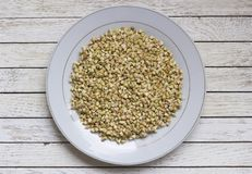 Sprouted buckwheat in white plate on white table. Sprouted buckwheat in white plate on white wooden table. Top view. Center position. Organic raw hulled groats stock photo