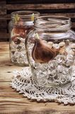 Sprouted bulbs tulips in glass container Royalty Free Stock Photography