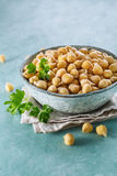 Sprouted chickpeas in the bowl. Healthy food. Selective focus stock images