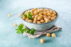 Sprouted chickpeas in the bowl. Healthy food. Vegetarian food royalty free stock photos