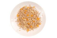 Sprouted kernel of buckwheat and pieces of fruits royalty free stock photography
