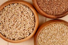 Sprouted kernel of buckwheat, raw and  fried cereals Stock Images