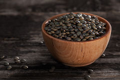 Sprouting Seeds in a Wooden bowl. Close-up of French Lentils Sprouting Seeds in a Wooden bowl Royalty Free Stock Images