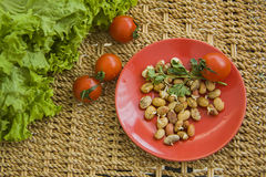 Sprouts in a bowl. Germs in a plate, healthy live food photo with copy space for text Stock Photography
